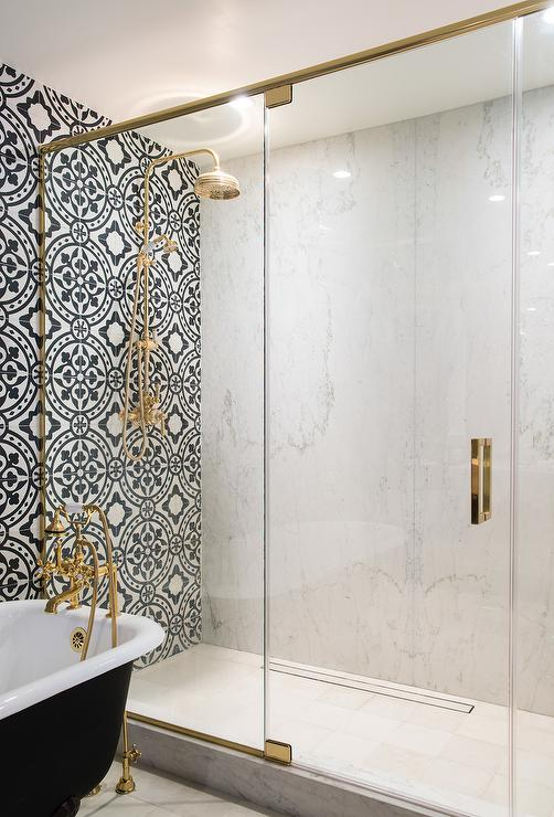 Elizabeth Taich Design, Bath, Moroccan, Tile, Brass