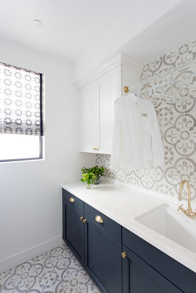 Moroccan Tile, cabinetry, laundry room
